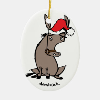 Dominick the Donkey Double-Sided Oval Ceramic Christmas Ornament