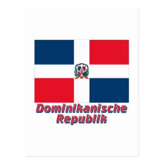 Dominikanische Republik Flagge mit Namen Postcard