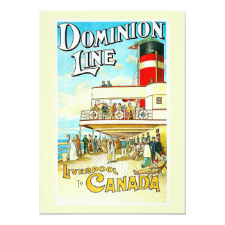 Dominion Line Liverpool to Canada Vintage 5x7 Paper Invitation Card