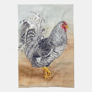Dominique Chicken Rooster Watercolor Artwork Towel