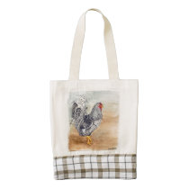 Dominique Chicken Rooster Watercolor Artwork Zazzle HEART Tote Bag