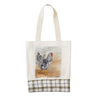 Dominique Chicken Rooster Watercolor Artwork Zazzle HEART Tote Bag