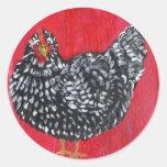 Dominique Chicken Round Stickers