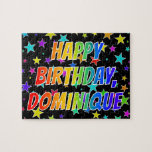 "[ Thumbnail: ""Dominique"" First Name, Fun ""Happy Birthday"" Jigsaw Puzzle ]"