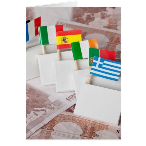 Domino effect of Euro debt crisis Greeting Card