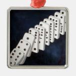 Domino Theory Square Metal Christmas Ornament