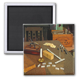 Dominoes and Cards 2 Inch Square Magnet