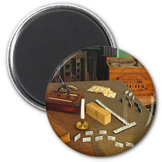 Dominoes and Cards 2 Inch Round Magnet