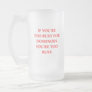 DOMINOES FROSTED GLASS BEER MUG