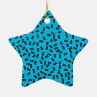 Dominoes on Blue Ceramic Ornament