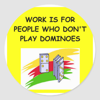 DOMINOES player Classic Round Sticker