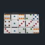 """Dominoes wristlet bag<br><div class=""""desc"""">Choose any bag style: cosmetic, clutch, wristlet (shown), or accessory bag for clip-on or travel. You may hit &quot;customize&quot; and move the domino design around to get different dot colors and dot patterns to show, as well size the design up or down (for smaller or larger dominoes)--or leave as is....</div>"""