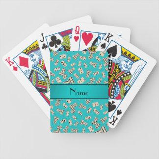 Dominós conocidos personalizados de la turquesa cartas de juego