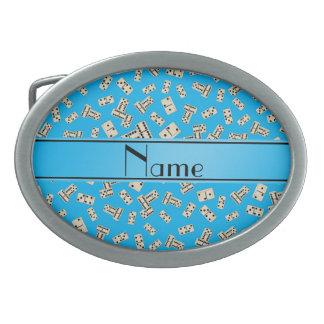 Dominós conocidos personalizados del azul de cielo hebilla de cinturón oval
