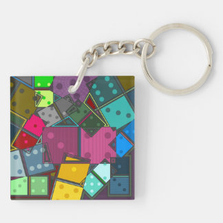 Dominos Double-Sided Square Acrylic Keychain