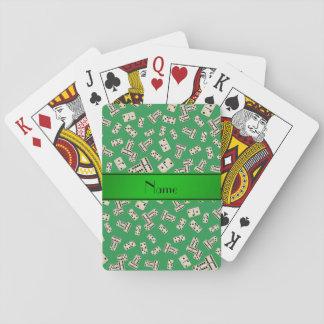 Dominós verdes conocidos personalizados barajas de cartas