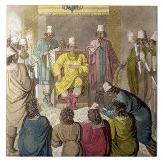 Don Álvaro, rey del congolés en su trono, p Azulejo Cuadrado Grande