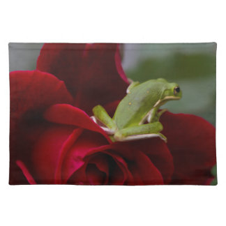 Don Juan Rose and Green Tree Frog Placemat