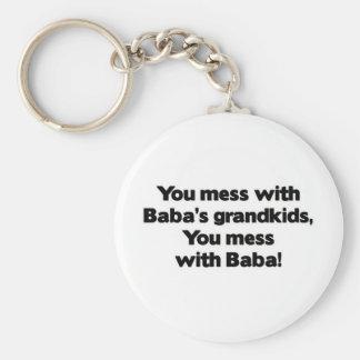 Don' lío de t con Baba' Grandkids de s Llavero Redondo Tipo Pin