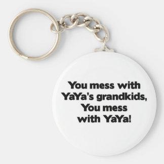Don' lío de t con YaYa' Grandkids de s Llavero Personalizado