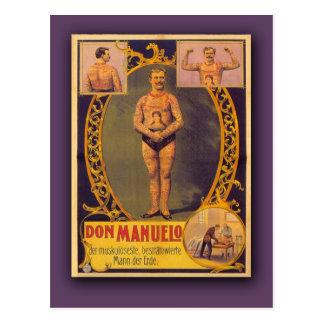 Don Manuelo, hombre tatuado en las tarjetas, posta Postales