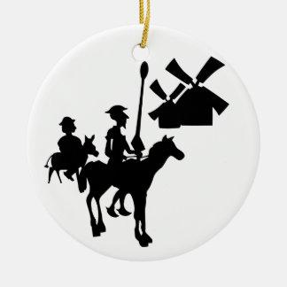 Don Quijote Adorno Navideño Redondo De Cerámica