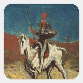 Don Quijote, c.1865-1870 Pegatina Cuadrada