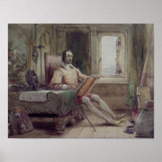 Don Quijote en su estudio Póster