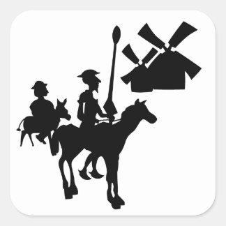 Don Quijote Pegatina Cuadrada