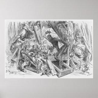 Don Quijote que lucha las marionetas Poster