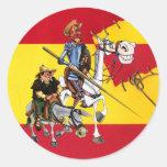 DON QUIJOTE&SANCHO - Español-bandera del molino de Etiqueta Redonda