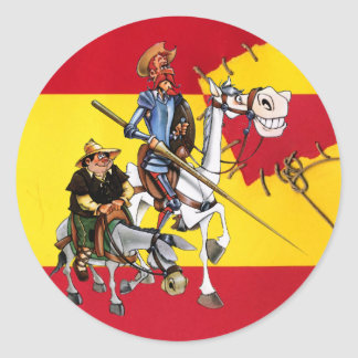 DON QUIJOTE&SANCHO - Español-bandera del molino de Pegatina Redonda
