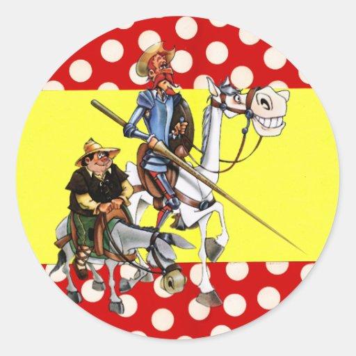 DON QUIJOTE & SANCHO & Flamenco-Spanish Flag Classic Round Sticker