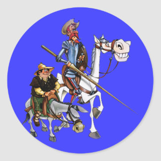 DON QUIJOTE, SANCHO, ROCINANTE y RUCIO - Cervantes Classic Round Sticker