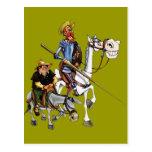DON QUIJOTE, SANCHO, ROCINANTE y RUCIO - Cervantes Postal