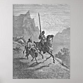 Don Quijote y ejemplo de Sancho Panza Poster