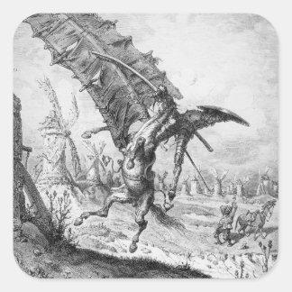 Don Quijote y los molinoes de viento Pegatina Cuadrada