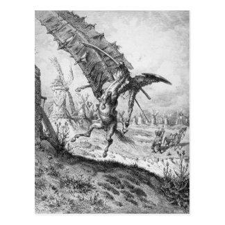 Don Quijote y los molinoes de viento Postales