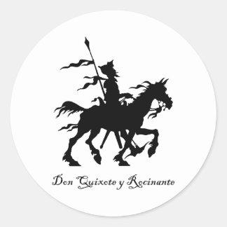 Don Quijote y Rocinante Pegatina Redonda