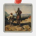 Don Quijote y Sancho Adorno Navideño Cuadrado De Metal