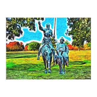 Don Quijote y Sancho Panza a caballo Impresión En Lona