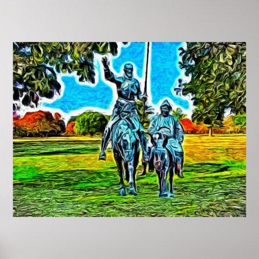 Don Quijote y Sancho Panza a caballo Póster