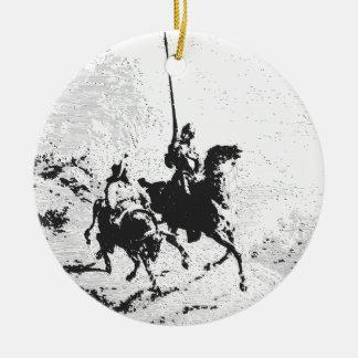 Don Quijote y Sancho Panza Adorno Navideño Redondo De Cerámica