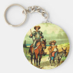 Don Quijote y Sancho Panza Llavero Redondo Tipo Pin
