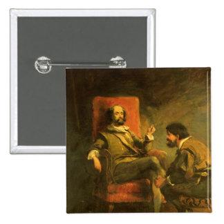 Don Quijote y Sancho Panza Pin Cuadrado