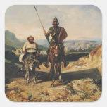 Don Quijote y Sancho Pegatina Cuadrada