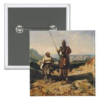 Don Quijote y Sancho Pin Cuadrado