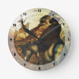 Don Quixote and Sancho Pansa by Honore Daumier Wall Clock