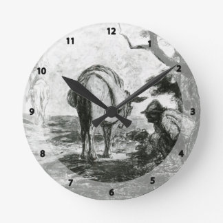 Don Quixote and Sancho Pansa by Honore Daumier Round Clock