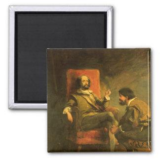 Don Quixote and Sancho Panza 2 Inch Square Magnet